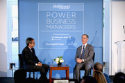 Stephen Galloway and Jon Feltheimer speak onstage at The Hollywood Reporter's Power Business Managers Breakfast 2018 at CUT on October 10, 2018 in Beverly Hills, California.