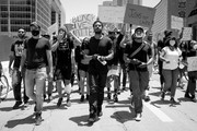 Image has been converted to black and white.) Michael B. Jordan, Kendrick Sampson and others participate in the Hollywood talent agencies march to support Black Lives Matter protests on June 06, 2020 in Beverly Hills, California.