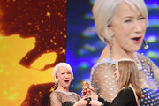British actress Helen Mirren (L) recieves the Honorary Golden Bear from Managing director of the Berlinale film festival Mariette Rissenbeek at the Homage Helen Mirren Honorary Golden Bear award ceremony during the 70th Berlinale International Film Festival Berlin at Berlinale Palace on February 27, 2020 in Berlin, Germany. Helen Mirren is this years recipient of the Honorary Golden Bear Award of the Berlinale.