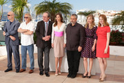 "(L-R) Producers Brian Kennedy, Michael Fidzgerald, actors Tommy Lee Jones, Hilary Swank, producer Luc Besson, actressses Sonja Richter and Miranda Otto attend ""The Homesman"" photocall during the 67th Annual Cannes Film Festival on May 18, 2014 in Cannes, France."