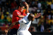 Wilson Palacios of Honduras attempts to shield the ball from Rodrigo Millar of Chile during the 2010 FIFA World Cup South Africa Group H match between Honduras and Chile at the Mbombela Stadium on June 16, 2010 in Nelspruit, South Africa.