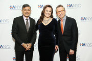 """(L-R) Vijay Dandapani, President & CEO at Hotel Association of New York City, actress and singer Ashley Brown, and honoree Thomas Schumacher, President at Disney Theatrical Group, attend the """"Red Carpet Hospitality Gala,"""" hosted by the Hotel Association Of New York City at JW Marriott Essex House on November 26, 2018 in New York City. (Photo by Monica Schipper/Getty Images for Hotel Association of New York City (HANYC))"""