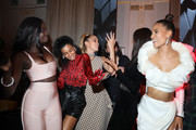 (L-R) Duckie Thot, Imaan Hammam, Jasmine Sanders, Jourdan Dunn and Cindy Bruna attend Cindy Bruna's Birthday Party at Hotel Lutetia with Five Eyes Production as part of Paris Fashion Week Womenswear Spring Summer 2020 on September 28, 2019 in Paris, France.