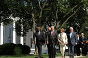 (L-R) U.S. House Assistant Minority Leader Rep. James Clyburn (D-SC), Rep. Chris Van Hollen (D-MD), House Minority Whip Rep. Steny Hoyer (D-MD), House Minority Leader Rep. Nancy Pelosi (D-CA), and House Democratic Caucus Chairman Rep. John Larson (D-CT) walk toward the microphones for a briefing with the media after a meeting with President Barack Obama at the White House June 2, 2011 in Washington, DC. Obama met with the members to discuss the national debt ceiling.