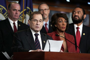 Anticlockwise from lower left, U.S. Rep. Jerrold Nadler (D-NY) speaks as Rep. Maxine Waters (D-CA), Rep. Al Green (D-TX), Rep. Jared Huffman (D-CA), and Rep. Dan Kildee (D-MI) during a news conference to show support of Special Counsel Robert Mueller December 21, 2107 on Capitol Hill in Washington, DC. House Democrats held a news conference to call on Mueller's investigation into Russian meddling in the 2016 election to be continued and not to be obstructed.
