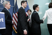 (L-R) House Majority Whip Kevin McCarthy (R-CA), Rep. Paul Ryan (R-WI) and House Majority Leader Eric Cantor (R-VA) file out after addressing the media following a party conference on March 19, 2013 in Washington, DC. GOP leaders asked that the president work with them to create a balanced budget plan, citing President Clinton's efforts to work with House Republicans on a budget in the 1990s.
