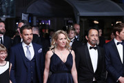 """Cyrille Mairesse, Karine Viard, Clovis Cornillac, Carole Franck and Eric Metayer from the movie 'Little Tickles (Les Chatouilles)'  attend the screening of """"The House That Jack Built"""" during the 71st annual Cannes Film Festival at Palais des Festivals on May 14, 2018 in Cannes, France."""