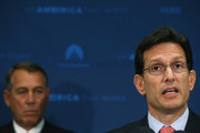 House Majority Leader Eric Cantor (R-VA) (R) speaks while flanked by House Speaker John Boehner (R-OH) during a news conference at the U.S. Capitol June 10, 2014 in Washington, DC. Speaker Boehner spoke to the media after attending a closed meeting with House Republicans.