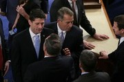 Newly-elected Speaker of the House Paul Ryan (R-WI) stands with Outgoing Speaker of the House John Boehner (R-OH) (R) at the U.S. Capitol October 29, 2015 in Washington, DC.  The House is expected to elect Rep. Paul Ryan (R-WI) as the 62nd Speaker of the House, replacing Rep. John Boehner (R-OH), later in the day.