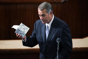 Outgoing U.S. Speaker of the House Rep. John Boehner (R-OH) jokingly holds up a box of tissue paper as he gives his farewell speech in the House Chamber of the Capitol October 29, 2015 on Capitol Hill in Washington, DC. The House of Representatives is scheduled to vote for a new speaker to succeed Boehner today.