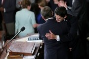 Speaker-elect of the House Paul Ryan (R-WI) embraces with outgoing U.S. Speaker of the House Rep. John Boehner (R-OH) in the House of Representatives chamber at the U.S. Capitol October 29, 2015 in Washington, DC. The House elected Rep. Paul Ryan (R-WI) as the 62nd Speaker of the House, replacing Rep. John Boehner (R-OH).