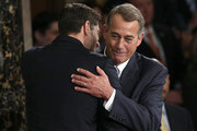 Newly elected Speaker of the House Paul Ryan (L) (R-WI) is embraced bu outgoing Speaker of the House John Boehner (R) (R-OH) after Ryan's election to the leadership position October 29, 2015 in Washington, DC. The House elected Ryan (R-WI) as the 62nd Speaker of the House.