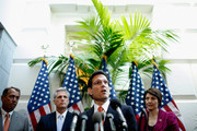 House Majority Leader Eric Cantor (R-VA) (C) speaks during a brief press conference with (L-R) Speaker of the House John Boehner (R-OH), Rep. Kevin McCarthy (R-CA) and Rep. Cathy McMorris Rodgers (R-WA) after the weekly House GOP caucus meeting at the U.S. Capitol June 6, 2012 in Washington, DC. The House Republican leaders said that letting the Bush tax cuts for the wealthest Americans expire would be  harmful for the economy and proposed the cuts be extended for a year so Congress could reform the tax code.