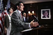 U.S. House Majority Leader Rep. Eric Cantor (R-VA) (C) speaks as Speaker of the House Rep. John Boehner (R-OH) (R) and House Republican Conference Vice Chairman Rep. Cathy McMorris Rodgers (R-WA) (L) listen during a news conference after a House Republican Conference meeting July 18, 2012 at the Capitol Hill Club in Washington, DC. House Republicans continued to challenge the Obama Administration on the speed of job creations.