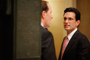 Incoming House Majority Leader Eric Cantor (R-VA) (R) talks with Rep. Dave Camp (R-MI) in between meetings in the U.S. Capitol January 4, 2011 in Washington, DC. Cantor will be sworn in Wednesday as majority leader when the Republicans take control of the House of Representatives.