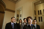 (L-R) Rep. Darrell Issa (R-CA), Rep. Mario Diaz-Balart (R-FL), Rep. Jaime Herrera Beutler (R-WA), Rep. Raul Labrador (R-ID), Rep. Cathy McMorris Rodgers (R-WA) and House Majority Leader Eric Cantor (R-VA) talk to reporters after the House passed the STEM Jobs Act November 30, 2012 in Washington, DC. The act would allow foreign students who graduated from U.S. colleges and universities with degrees in science and technology to obtain green cards to become permanent legal residents. President Barack Obama said he would not sign the bill unless it was part of larger and more comprehensive immigration reform legislation.