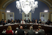 (2nd L-R) House Ways and Means Committee Chairman Kevin Brady (R-TX), ranking member Rep. Richard Neal (D-MA) and committee member Rep. Peter Roskam (R-IL) sit at the witness table while testifying to the House Rules Committee about the Tax Cuts and Jobs Act Conference Report at the U.S. Capitol December 18, 2017 in Washington, DC. The committee held a hearing on the rules governing debate on the tax bill, which the House of Representatives is expected to vote on Tuesday.