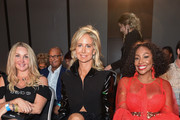 (L-R) Heather Bird Tchenguiz, Lady Victoria Hervey and Kele Le Roc attend the House of iKons show at Hilton London Metropole on September 14, 2019 in London, England.