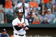 Adam Jones #10 of the Baltimore Orioles waits to bat against the Houston Astros in the seventh inning at Oriole Park at Camden Yards on September 30, 2018 in Baltimore, Maryland.