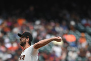 Madison Bumgarner #40 of the San Francisco Giants pitches against the Houston Astros in the top of the second inning at AT&T Park on August 7, 2018 in San Francisco, California.