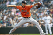 Starter Charlie Morton #50 of the Houston Astros delivers a pitch during the second inning of a game against the Seattle Mariners at Safeco Field on August 22, 2018 in Seattle, Washington.