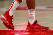 A view of the shoes worn by James Harden #13 of the Houston Rockets in the second half against the Atlanta Hawks at State Farm Arena on January 08, 2020 in Atlanta, Georgia.  NOTE TO USER: User expressly acknowledges and agrees that, by downloading and/or using this photograph, user is consenting to the terms and conditions of the Getty Images License Agreement.