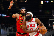 James Harden #13 of the Houston Rockets drives against DeAndre' Bembry #95 of the Atlanta Hawks in the first half at State Farm Arena on January 08, 2020 in Atlanta, Georgia.  NOTE TO USER: User expressly acknowledges and agrees that, by downloading and/or using this photograph, user is consenting to the terms and conditions of the Getty Images License Agreement.