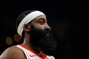 James Harden #13 of the Houston Rockets looks on during the first half against the Atlanta Hawks at State Farm Arena on January 08, 2020 in Atlanta, Georgia.  NOTE TO USER: User expressly acknowledges and agrees that, by downloading and/or using this photograph, user is consenting to the terms and conditions of the Getty Images License Agreement.