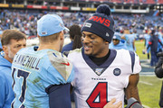 Deshaun Watson #4 of the Houston Texans shakes hands after the game with Ryan Tannehill #17 of the Tennessee Titans at Nissan Stadium on December 15, 2019 in Nashville, Tennessee.  The Texans defeated the Titans 24-21.