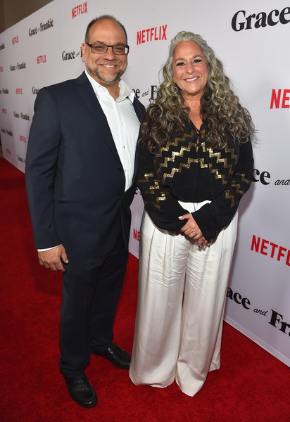 Premiere Of Netflix's 'Grace And Frankie' - Red Carpet [grace and frankie,carpet,red carpet,premiere,event,suit,flooring,award,award ceremony,red carpet,creators,executive producers,marta kauffman,howard j. morris,regal cinemas l.a. live,netflix,premiere,premiere]