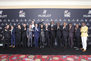 "In this handout image provided by Hublot, Lennox Lewis, Ricardo Guadalupe, Evander Holyfield, George Forman, Vitali Klitschko, Thomas Hearns, Sugar Ray Leonard, Bernard Hopkins and guests attend the Hublot x WBC ""Night of Champions"" Gala at the Encore Hotel on May 03, 2019 in Las Vegas, Nevada."