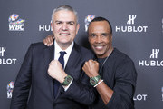 "In this handout image provided by Hublot Ricardo Guadalupe and Sugar Ray Leonard attend the Hublot x WBC ""Night of Champions"" Gala at the Encore Hotel on May 03, 2019 in Las Vegas, Nevada."