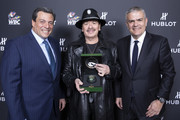 "In this handout image provided by Hublot Ricardo Guadalupe, Mauricio Sulaiman and Carlos Santana attend the Hublot x WBC ""Night of Champions"" Gala at the Encore Hotel on May 03, 2019 in Las Vegas, Nevada."