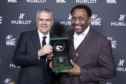 "In this handout image provided by Hublot Ricardo Guadalupe and Thomas Hearns attend the Hublot x WBC ""Night of Champions"" Gala at the Encore Hotel on May 03, 2019 in Las Vegas, Nevada."