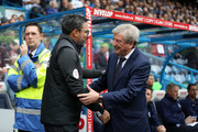 David Wagner, manager of Huddersfield Town and Roy Hodgson, Manager of Crystal Palace speak ahead of the Premier League match between Huddersfield Town and Crystal Palace at John Smith's Stadium on September 15, 2018 in Huddersfield, United Kingdom.