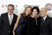 """(L-R) Chairman & Chief Executive Officer of Fox Filmed Entertainment Jim Gianopulos, Ann Gianopulos, Marilyn Katzenberg and Dreamworks Animation CEO Jeffrey Katzenberg attend """"Hugh Jackman... One Night Only"""" Benefitting MPTF at Dolby Theatre on October 12, 2013 in Hollywood, California."""