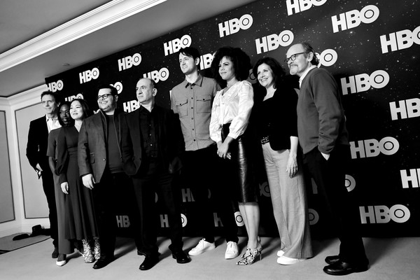 WarnerMedia Winter TCA 2020 - Green Room [image,team,black-and-white,event,monochrome,font,photography,white-collar worker,suit,style,formal wear,lenora crichlow,zach woods,josh gad,armando iannucci,winter tca,color version,green room,pasadena,warnermedia,nikki amuka-bird,rebecca front,hugh laurie,zach woods,avenue 5,getty images,photography,stock photography,josh gad]