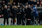 Referee Mike Dean sends Gustavo Poyet the manager of Sunderland to the stands after clashing with Steve Bruce the manager of Hull City during the Barclays Premier League match between Hull City and Sunderland at the KC Stadium on March 3, 2015 in Hull, England.