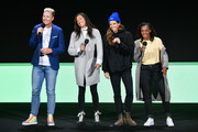 (L-R) Abby Wambach, Christen Press, Tobin Heath and Crystal Dunn speak onstage during the Hulu '19 Presentation at Hulu Theater at MSG on May 01, 2019 in New York City.