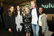 (L-R) Tobin Heath, Christen Press, Reese Witherspoon, Abby Wambach and Crystal Dunn pose for a photo during the Hulu '19 Presentation at Hulu Theater at MSG on May 01, 2019 in New York City.