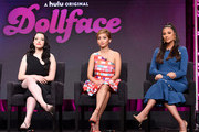 (L-R) Kat Dennings, Brenda Song, and Shay Mitchell speak onstage during the Hulu 2019 Summer TCA Press Tour at The Beverly Hilton Hotel on July 26, 2019 in Beverly Hills, California.