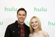 (L-R) Nicholas Hoult and Elle Fanning attend the Hulu Panel at Winter TCA 2020 at The Langham Huntington, Pasadena on January 17, 2020 in Pasadena, California.