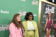 """Aidy Bryant and Lolly Adefope attend Hulu's """"Shrill"""" New York Premiere at Film Society of Lincoln Center - Walter Reade Theater on March 13, 2019 in New York City."""