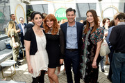 (L-R) Sarah Silverman, Julie Klausner, Mike Hopkins, and Michelle Monaghan attend the Hulu Upfront Brunch at La Sirena Ristorante on May 3, 2017 in New York City.