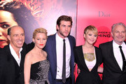 Jon Kilik, Elizabeth Banks, Liam Hemsworth, Jennifer Lawrence, and Francis Lawrence attend the 'Hunger Games: Catching Fire' New York Premiere at AMC Lincoln Square Theater on November 20, 2013 in New York City.