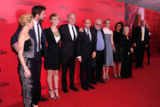 (L-R) Jon Kilik, Elizabeth Banks, Liam Hemsworth, Jennifer Lawrence, Francis Lawrence and Nina Jacobson attend the 'Hunger Games: Catching Fire' New York Premiere at AMC Lincoln Square Theater on November 20, 2013 in New York City.