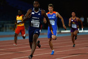 Richard Thompson of the Americas leads his team home in the Mens 4x100m Final during day one of the IAAF Continental Cup at the Stade de Marrakech on September 13, 2014 in Marrakech, Morocco.
