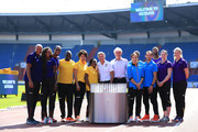 Team ambassadors and representatives pose for a photo with IAAF President Sebastian Coe and LOC & Czech Athletic Federation President, Libor Varhanik prior to the IAAF Continental Cup at Mestsky Stadium on September 7, 2018 in Ostrava, Czech Republic.