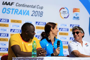 (L-R) Julius Yego, Katerina Stefanidi and IAAF President Sebastian Coe speak to the media during a press conference prior to the IAAF Continental Cup at Mestsky Stadium on September 7, 2018 in Ostrava, Czech Republic.