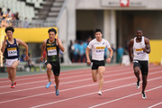 (L to R) Ryohei Tada of Japan, Ryota Yamagata of Japan, Yoshihide Kiryu of Japan and Justin Gatlin of the United States compete in the Men's 100m during the IAAF Golden Grand Prix at Yanmar Stadium Nagai on May 20, 2018 in Osaka, Japan.